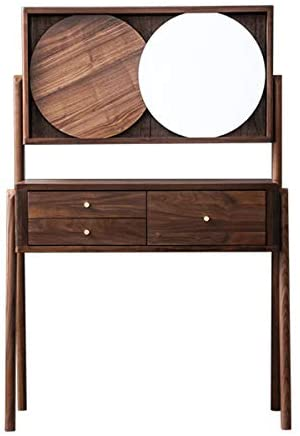 CJHOME Black Walnut Dressing Table, All Solid Wood Dressing Table, 3 Drawers and 2 compartments, Modern Dressing Table, Bedroom Furniture, Essential for Girls