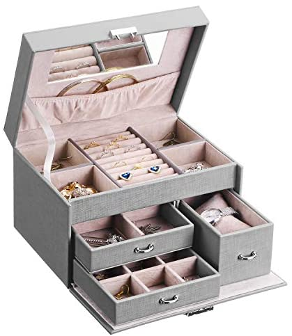BEWISHOME 20 Section Jewelry Box, Jewelry Organizer Box with Lock, Girls Jewelry Box for Earrings,Rings,Necklaces,Cufflinks,Pendants Grey SSH78H