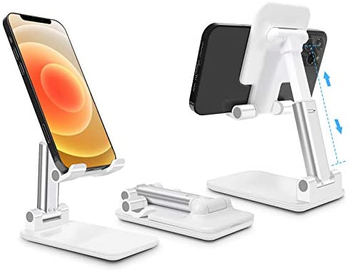 Cell Phone Stand for Desk, CISID Angle & Height Adjustable Foldable Cell Phone Holder Cradle Tablet Phone Stand Compatible with iPhone12 Mini 11 Pro/Tablets Kindle-White