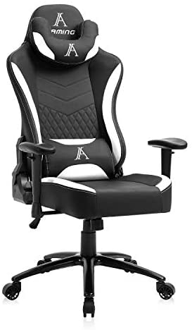 AJS Gaming Chair, High Back Adjustable Ergonomic Office Chair, Racing Leather Computer Desk Chair with Reclining Backrest and Lumbar Support (White)