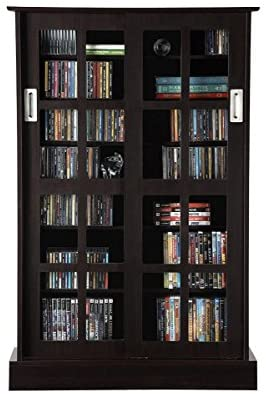 Atlantic Windowpane Adjustable Media Cabinet – Tempered Glass Pane Styled Sliding Doors, Store 216 Blu-Rays,192 DVDs or 576, Adjustable Shelves, 32 X 9.5 X 49.25 inches PN94835721 in Espresso