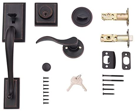 Amazon Basics Modern Exterior Door Handle with Right-Hand Wave Door Lever and Deadbolt Lock Set, Oil Rubbed Bronze