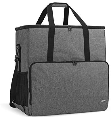 CURMIO Desktop Computer Tower and Monitor Carrying Case, Travel Tote Bag for PC Chassis, Monitor, Keyboard, Cable and Mouse, Earphone, Bag Only, Grey
