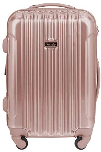 kensie Women's Alma Hardside Spinner Luggage, Metallic Rose Gold, Carry-On 20-Inch