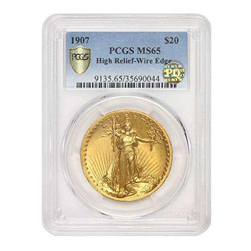 1907 High Relief Wire Edgle American Gold Saint Gaudens Double Eagle MS-65 by CoinFolio $20 MS65 PCGS