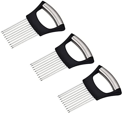 3 PCS Onion Holder for Slicing, Stainless steel Food Onion Slicer Assistant, Potato Lemon Tomato holder Slicer, Blooming Onion maker Fork Slicing, Meat Tenderizer Needle Kitchen Cutting Tool Gadget