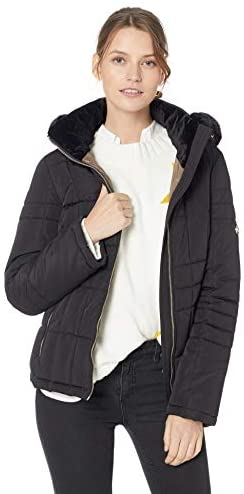 Calvin Klein Women's Quilted Down Jacket with Removable Faux Fur Trimmed Hood