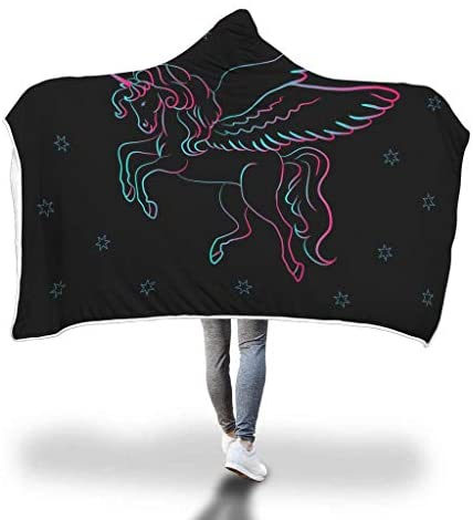 Awesome Fun Stuff Unicorn Wings Colorful Stars Girls Hooded Blanket (Youth)