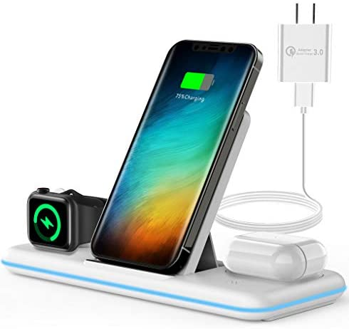 Olunnvi Wireless Charger, 3 in 1 Qi-Certified Wireless Charging Station for AirPods 2/Pro, Apple Watch Series Se 6 5 4 3 2 1, Compatible for iPhone 12/11 Series/XS MAX/XR/XS/X/8/8 Plus/Samsung (White)