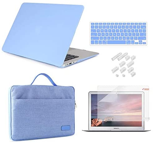 "MacBook Pro 13 Inch Case 2019 2018 2017 2016 Release A2159/A1989/A1706/A1708, iCasso Hard Plastic Case, Sleeve, Screen Protector, Keyboard Cover & Dust Plug Compatible MacBook Pro 13"" – Serenity Blue"