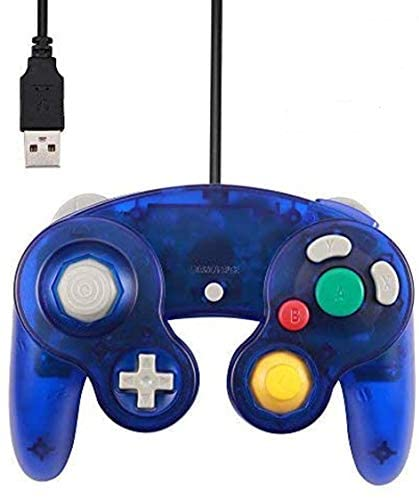 Mekela 5.8-Foot Classic USB Wired NGC Controller Gamepad for Gamecube Windows PC MAC (1 Pack) (Clear Blue)