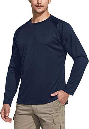 CQR Men's UPF 50+ Outdoor Long Sleeve Shirts, UV Sun Protection Loose-Fit Water T-Shirts, Running Workout Shirt