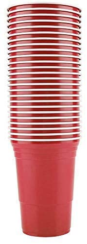 Fung 50Pcs/Set 450ml Cups Juice Cup Red Plastic Cups Red Disposable Plastic Cup Party Cup Bar Restaurant Supplies Household Items