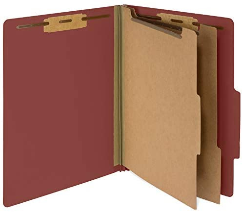 10 Red Classification Folders – 2 Divider – 2 Inch Tyvek Expansions – Durable 2 Prongs Designed to Organize Standard Medical Files, Law Client Files, Office Reports – Letter Size, Red, 10 Pack