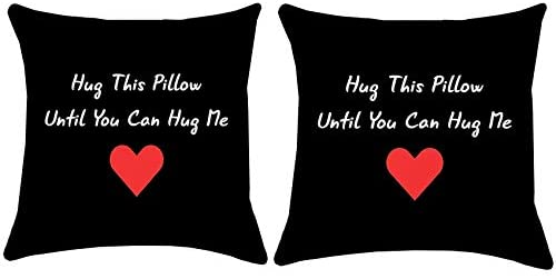 Munzong Long Distance Relationship Throw Pillow Covers 16 x 16 Inch, Set of 2 Double Sided Polyester Pillowcase for Sofa Chair, Hug The Pillow Cushion Covers for Valentines Day Anniversary Home Decor