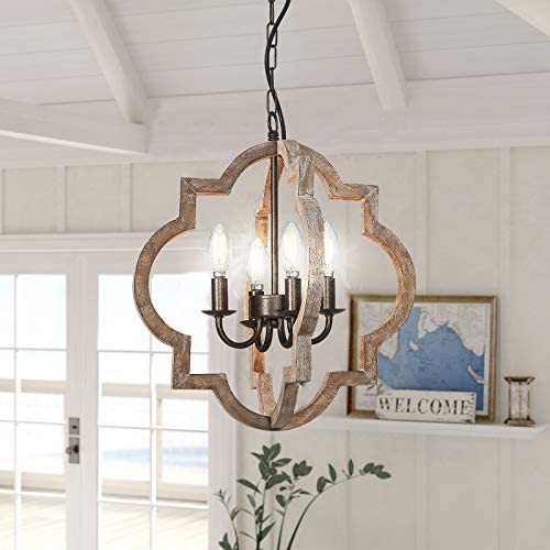 Farmhouse Orb Chandelier, Handmade Distressed Brown 4-Light Wood Light Fixtures Hanging for Island Dining Foyer Entryway Lighting