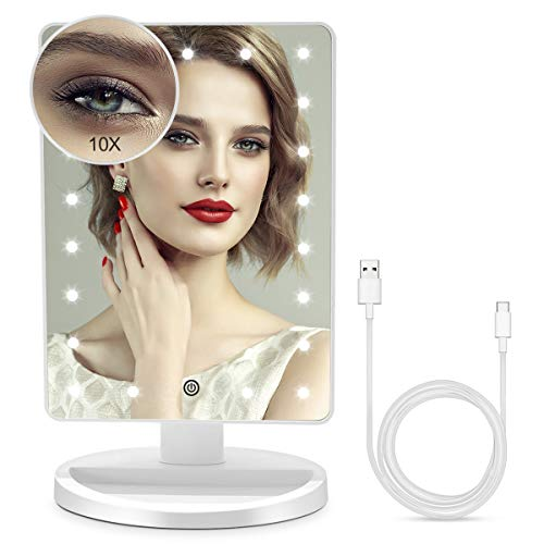 BUENOLIFE Makeup Mirror with Lights, Vanity Mirror with 21 LED Cosmetic Mirror Light Adjustable, Lighted Bedroom Mirror with Touch Screen Dimming, Dual Power, Detachable 10X Magnification-White