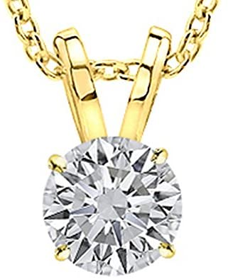 1/2-2 Carat 18K Yellow Gold GIA Certified Round Cut Diamond Pendant Necklace Ultra Premium Collection (H-I Color, VS1-VS2 Clarity)