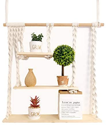 [New 2021 Design] Macrame Wall Hanging Shelf | 3 Tier White Macrame Boho Handmade Woven Decor for Home Wall Shelf for Plant Bedroom Bathroom