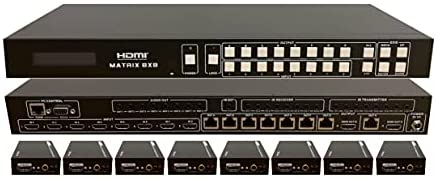 8×8 HDbaseT Matrix HIGH Definition SWITCHER with 8 Receivers (CAT5e or CAT6) 1080p HDMI HDCP2.2 HDTV Routing SPDIF Audio CONTROL4 Savant Home Automation (8×8 HDbaseT Matrix with 1 HDMI Output)