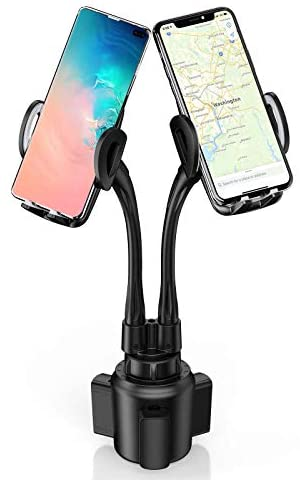 Dual Car Cup Holders Phone Mounts, Sopownic Cup Phone Holder for Car Gooseneck Adjustable Cell Phone Cup Holder for 2 Phones GPS iPhone Android Samsung Golf Cart