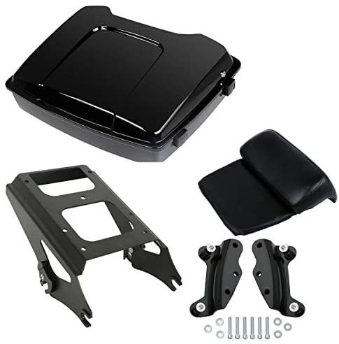 Green-L Vivid Black Razor Pack Trunk with Backrest Pad & Mounting Rack 4 Point Docking Hardware Kit Fit for Harley Touring 2009-2013
