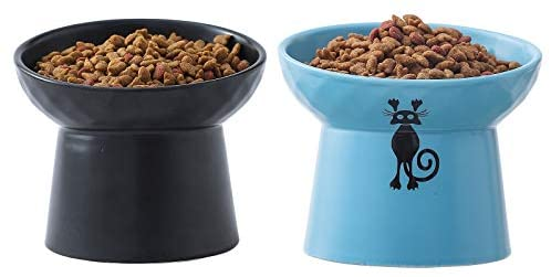 Tilted Raised Cat Food and Water Bowl Set,Elevated Cat Feeder Bowls with Stand,Ceramic Pet Bowls,Protect Pet's Spine,Backflow Prevention,2 Pack(Black&Blue)