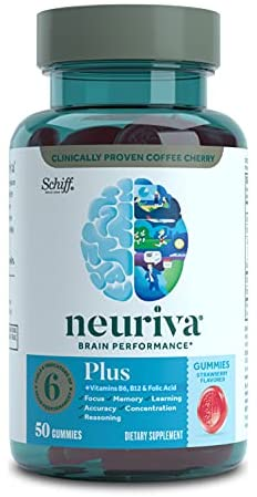 Neuriva Nootropic Brain Support Supplement – Plus Strawberry Gummies (50 Count in a Bottle), Phosphatidylserine, B6, B12, Supports Focus Memory Concentration Learning Accuracy and Reasoning