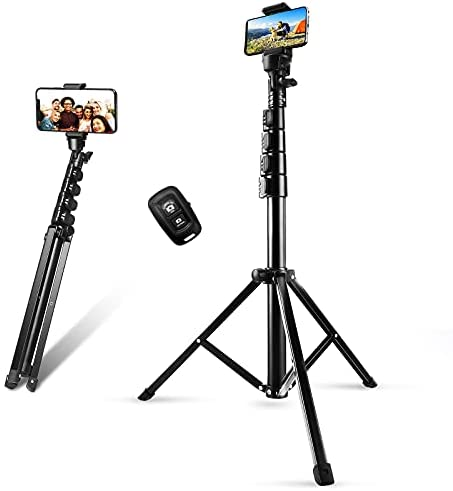 Phone Tripod Stand & Selfie Stick Tripod, SOSIROLO 62″ All in One Extendable Cell Phone Tripod with Wireless Remote and Phone Holder, Flexible Cellphone Tripod for iPhone/Android/Camera