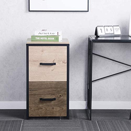 GREATMEET 2 Drawer MDF Vertical File Cabinet Wood Filing Cabinet with Handle for Hanging Files for Home Office Walnut 15.7″ L x 16.9″ W x 28.5″ H