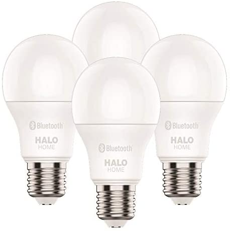 Halo HHA19089BLE40A-4PK 60-Watt Equivalent A19 Dimmable Adjustable CCT (2700K-5000K) Wireless Light Home, White (4-Pack) LED Smart Bulb, 4 Count