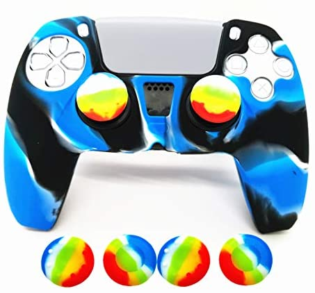 Skin for PS5 Controller Grips, Silicone Case Cover for Playstation 5 Protector with 4pcs Thumb Joysticks Caps (Royal Blue&Black)