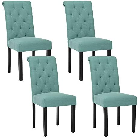 Solid Wood Tufted Parsons Dining Chair with Fabric Upholstery, Set of 4, Teal