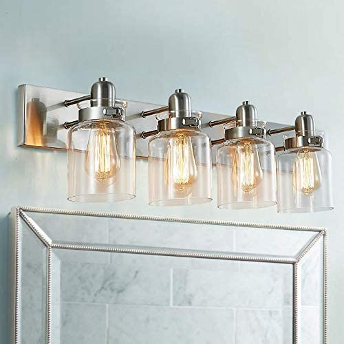 Bestier Modern Brushed Nickel 4-Light Bath Bathroom Vanity Wall Mounted Light Wall Sconce 4 E26 LED Bulbs Required Length 30.3 inch Width 6.9 inch Height 8.3 inch