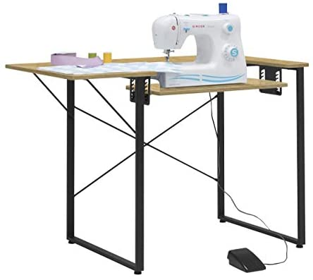 Sew Ready Dart Wood/Metal Multipurpose Machine Table Workstation Desk with Folding Top for Crafts, Sewing, Computers, Laptops, Games, Black Graphite/Ashwood