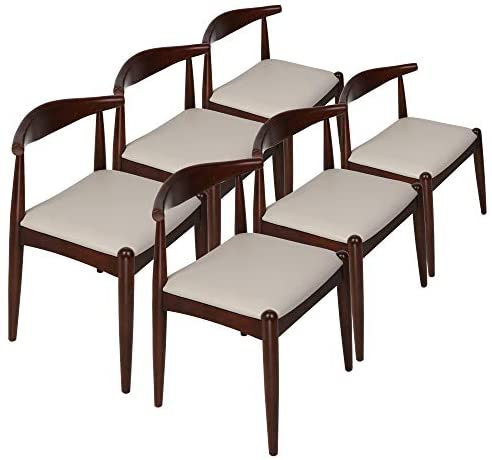 Koreyosh Dining Chairs Mid Century Modern Side with Faux Leather Seat and Wooden Curved Backrest Low-Back Dining Chairs, 6-Pack
