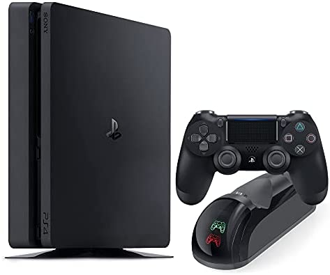 PS 4 Slim 500GB Console with Black Wireless Controller and Mytrix DS4 Fast Charging Dock