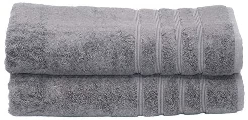 MOSOBAM 700 GSM Hotel Luxury Bamboo-Cotton, Bath Towel Sheets 35X70, Charcoal Grey, Set of 2, Quick Dry, Soft Spa-Like Turkish Bathroom Sets, Oversized Extra Large Body Sheet Towels, Prime, Dark Gray