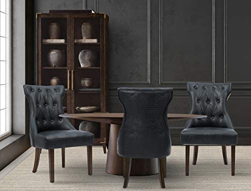 Iconic Home Dickens Dining Side Chair Button Tufted PU Leather Espresso Wood Legs Modern Contemporary, Black, Set of 2