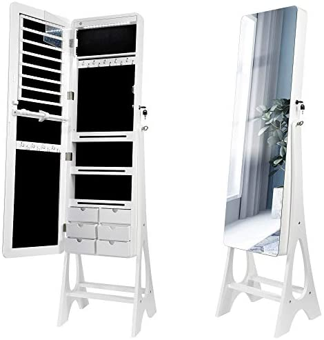 Foxloly Standing Jewelry Cabinet with Full-length Mirror, Lockable LED Jewelry Armoire Organizer Box, 3 Angle Adjustable, White