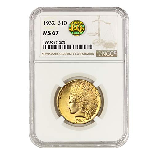 1932 American Gold Indian Head Eagle MS-67 PQ Approved by CoinFolio $10 MS67 NGC