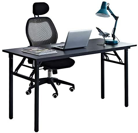 sogesfurniture Computer Desk Office Desk 55 inches Folding Table Laptop Desk Computer Table Workstation with BIFMA Certification No Assembly Required,Black BHUS-AC5CB-140