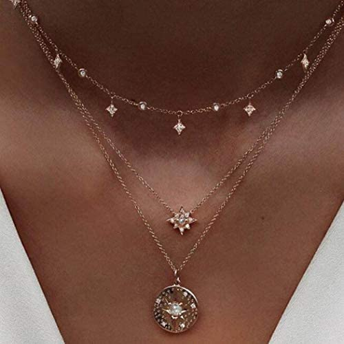 Victray Boho Star Necklace Coin Neck Chain Choker Pendant Necklaces Fashion Jewelry for Women and Girls
