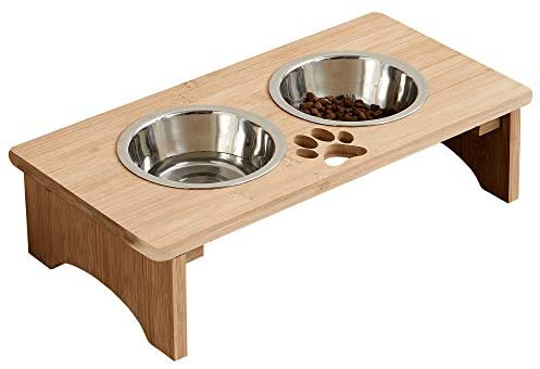 """MRECHIR Raised Pet Bowls for Cats and Dogs, Bamboo Elevated Dog Cat Food and Water Bowls Stand Feeder for Small to Large Dogs and Cats(4"""" Tall)"""