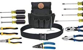 Klein Tools 92914 Tool Kit, Tool Set Includes Basic Tools, Pouch and Belt for Journeyman, Linesman, Professionals and Homeowners, 14-Piece