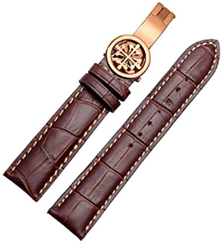 20mm/21mm/22mm Black/Brown Leather Watch Band Strap Deployment Buckle Fit for Patek Philippe