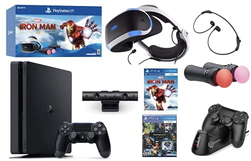 2021 Playstation Console and Playstation VR Holiday Bundle – PS4 Slim 1TB Wireless Controller, PSVR Headset, Camera, Move Motion Controller, Iron Man Game,VR Demo Disc & Marxsol Charging Dock