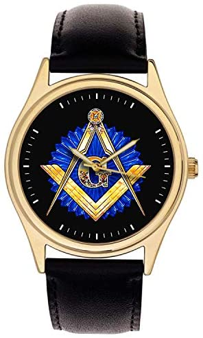 Symbolic Vintage Freemasonry Logo Art Masonic Collectible Solid Brass Wrist Watch. Golden Brass & Sapphire Blue