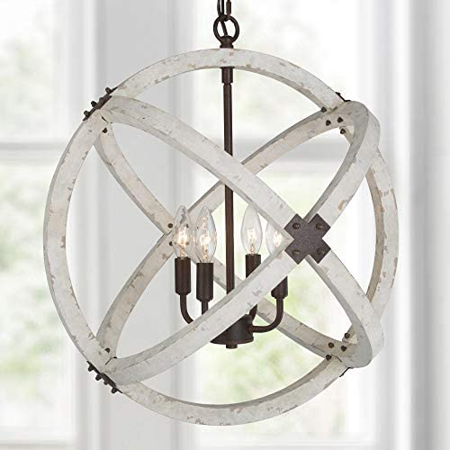 """LOG BARN 20"""" Farmhouse Wood Chandelier for Dining Rooms, Orb Chandelier Light Fixture for Kitchen Island, Distressed White & Rustic Metal Finish, 4-Light (Orb-20″ Dia)"""