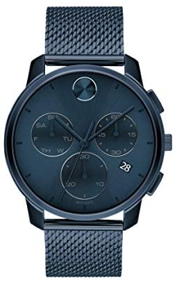Movado Men's Swiss Quartz Watch with Stainless Steel Strap, Blue, 21 (Model: 3600633)